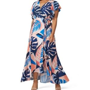 Hutch Tropical Talia Palm Print Maxi Wrap Dress XL